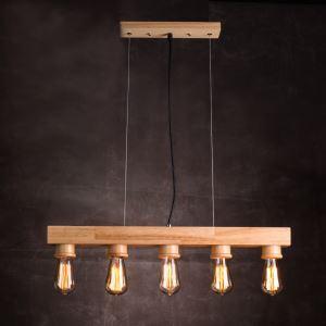 ペンダントライト 天井照明 北欧風照明 木製照明 5灯