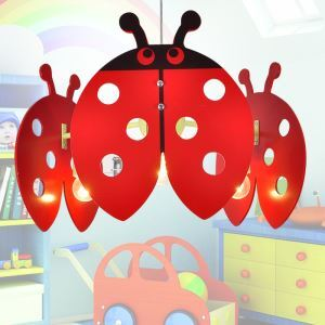 LEDペンダントライト 天井照明 子供屋照明 ナナホシテントウムシ型 3灯