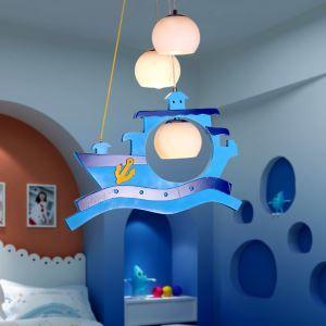 LEDペンダントライト 天井照明 子供屋照明 海贼船型 3灯