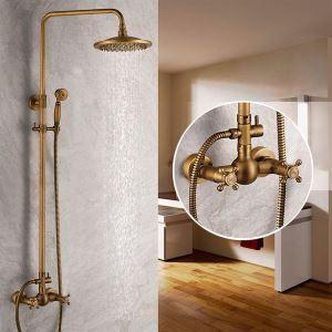 浴室シャワー水栓 レインシャワーシステム シャワーバー ヘッドシャワー+ハンドシャワー バス水栓 アンティーク