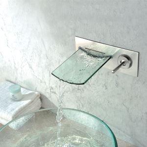 バス水栓 洗面蛇口 壁付水栓 ハンドル別掛け ガラス製滝状吐水口