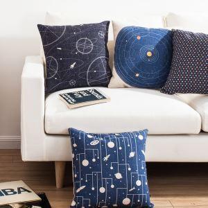 クッションカバー 抱き枕カバー 枕カバー 北欧 リネン 星柄 5点