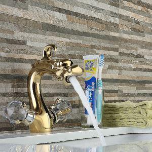 洗面蛇口 バス蛇口 冷熱混合水栓 金色 TI-PVD