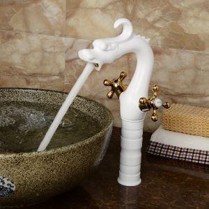洗面蛇口 バス蛇口 冷熱混合水栓 白色&金色