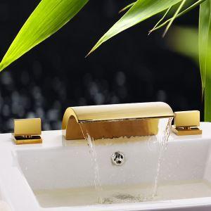 浴槽水栓 バス蛇口 滝状吐水口 2ハンドル混合栓 金色 Ti-PVD