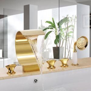 浴槽水栓 バス蛇口 3ハンドル混合栓 シャワー水栓 ハンドシャワー付き 金色
