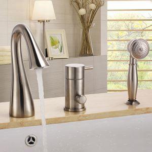 浴槽水栓 バス蛇口 シャワー水栓 ハンドシャワー付き 真鍮製 光沢