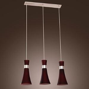 ペンダントライト 天井照明 ガラス製照明 照明器具 レッド 3灯