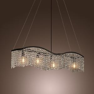 シャンデリア クリスタル照明 天井照明 曲線状照明器具 5灯