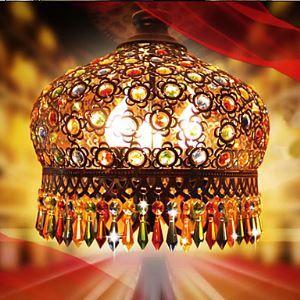ペンダントライト ボヘミアンスタイル照明 レトロな照明器具 クリスタル付 芸術 手作り 3灯