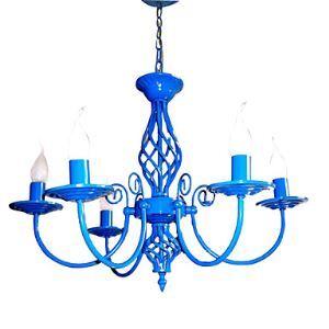 シャンデリア 照明器具 リビング照明 ダイニング照明 店舗 寝室 青色 5灯
