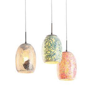ペンダントライト 照明器具 リビング照明 食卓 玄関 店舗 ガラス製 モザイク 1灯 4色