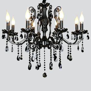 シャンデリア クリスタル照明 天井照明 照明器具 黒色 8灯