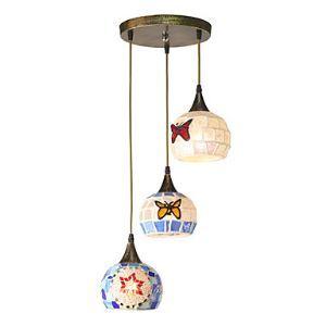 ペンダントライト 地中海風照明 モザイク照明 天井照明 照明器具 カントリー 3灯
