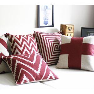 クッションカバー 抱き枕カバー 枕カバー コットン&リネン しま模様(赤&白)