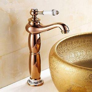 洗面蛇口 バス水栓 水道蛇口 冷熱混合水栓 真鍮製 ローズゴールド