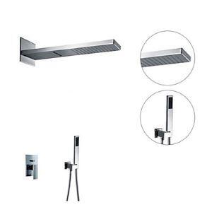 埋込式シャワー水栓 レインシャワーシステム バス蛇口 ヘッドシャワー+ハンドシャワー 混合栓 クロム