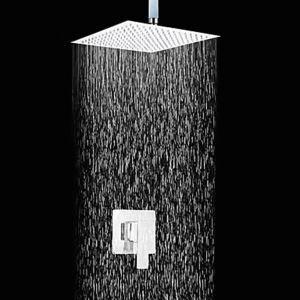 埋込式シャワー水栓 レインヘッドシャワー バス蛇口 混合栓 クロム
