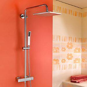 レインシャワーシステム シャワーバー ヘッドシャワー+ハンドシャワー サーモスタット付き クロム