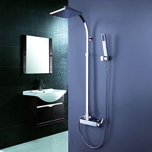 レインシャワーシステム シャワーバー バス蛇口 ヘッドシャワー+ハンドシャワー 混合栓 クロム