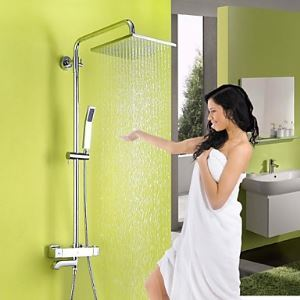 レインシャワーシステム サーモスタット付きシャワー水栓 ヘッドシャワー+ハンドシャワー+蛇口 クロム