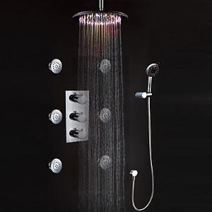 埋込式LEDシャワー水栓 レインシャワーシステム サーモスタット付きシャワー製品 真鍮製 クロム