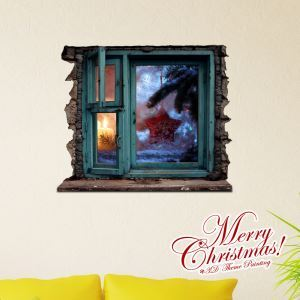 メリークリスマス 3Dウォールステッカー 立体DIY PVC製ウォールステッカー 窓柄