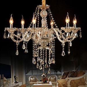 シャンデリア 照明器具 天井照明 リビング照明 店舗照明 クリスタル 姫系 琥珀色 6灯 LED電球付 LTB726915
