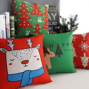 クッションカバー クリスマスマスコット  抱き枕カバー 枕カバー 麻 Merry Christmas 5点