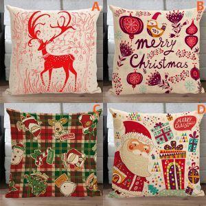 クッションカバー クリスマスマスコット 抱き枕カバー 枕カバー 麻 Merry Christmas 4点