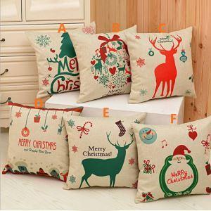 クッションカバー クリスマスマスコット 抱き枕カバー 枕カバー 麻 Merry Christmas 6点
