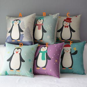 クッションカバー 抱き枕カバー 枕カバー 麻 ペンギン柄 漫画 6点