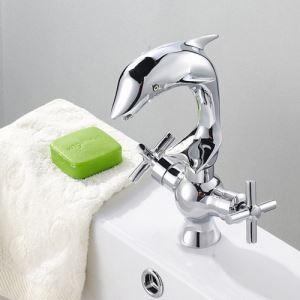 洗面蛇口 バス蛇口 浴室用水栓 2ハンドル混合水栓 真鍮製 クロム イルカ型