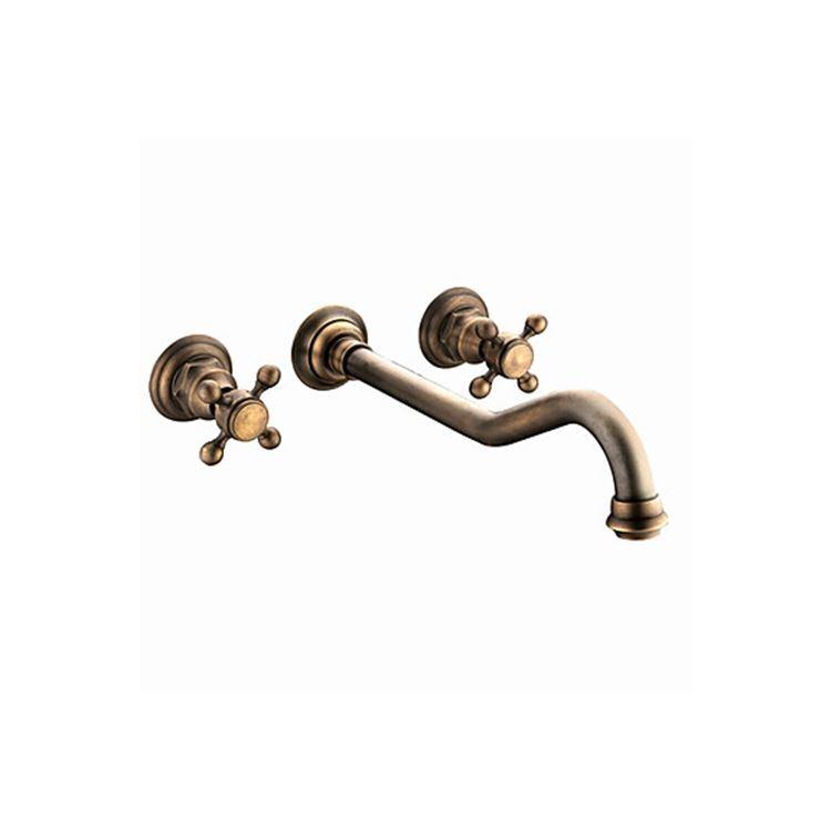 壁付水栓 洗面用蛇口 2ハンドル混合栓 ブロンズメッキ加工