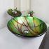 洗面ボウル&蛇口セット 洗面台 洗面器 手洗器 手洗い鉢 洗面ボール 排水金具付 芸術的 梅花柄 円形 SFS650