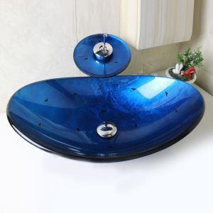 彩色上絵洗面ボウル&蛇口セット 洗面台 洗面器 手洗器 手洗い鉢 排水金具付 青色 楕円形 SFS651