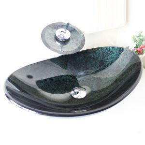 彩色上絵洗面ボウル&蛇口セット 洗面台 洗面器 手洗器 手洗い鉢 排水金具付 濃緑 楕円形 SFS673