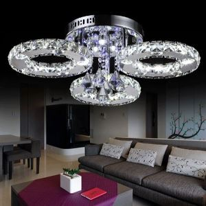 LEDシーリングライト 天井照明 照明器具 玄関照明 クリスタル付 オシャレ 3リング