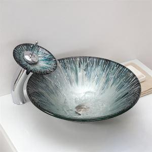 彩色上絵洗面ボウル&蛇口セット 強化ガラス洗面台 洗面器 手洗器 手洗い鉢 排水金具付 円形 VT0017