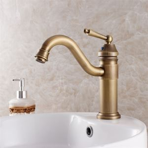 洗面用蛇口 バス水栓 水道蛇口 混合水栓 真鍮 ブロンズ色 23cm