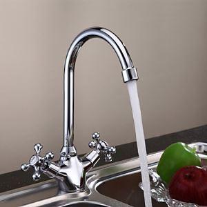 キッチン蛇口 台所蛇口 2ハンドル混合水栓 真鍮製 クロム