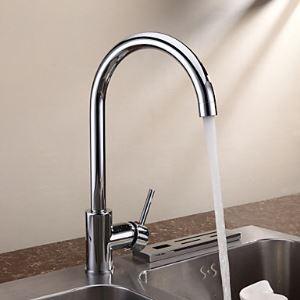 キッチン蛇口 台所蛇口 冷熱混合水栓 真鍮製 クロム