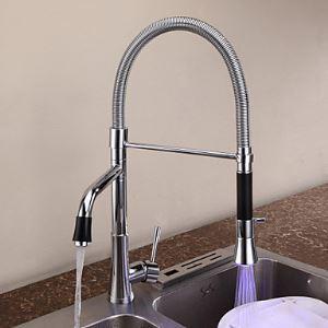 LEDキッチン蛇口 台所蛇口 2吐水口水栓 真鍮製 クロム