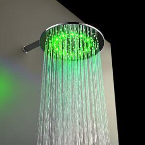 3色LEDヘッドシャワー レインシャワー水栓 クロム 30cm