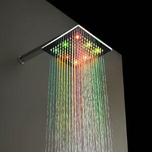 7色LEDヘッドシャワー レインシャワー水栓 クロム 20cm