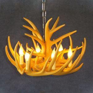 鹿角シャンデリア ペンダントライト 照明器具 リビング 寝室 店舗 樹脂製 6灯 黄色 北欧風 LED電球付