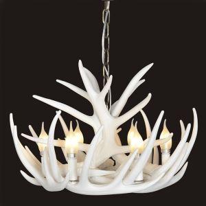 鹿角シャンデリア ペンダントライト 照明器具 リビング 寝室 店舗 樹脂製 6灯 白色 北欧風 LED電球付