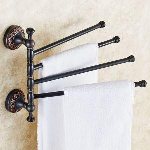 浴室四重タオルバー タオル掛け タオル収納 壁掛けハンガー 回転可能 バスアクセサリー YWA010