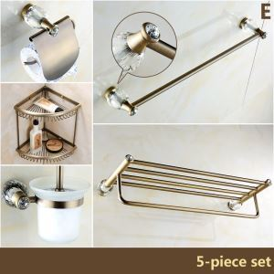 バスアクセサリーセット 浴室用品 真鍮&クリスタル製 アンティーク