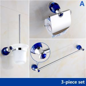 バスアクセサリーセット 浴室用品 真鍮&クリスタル製 クロム